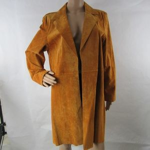 Coldwater Creek Suede Leather Trench Coat Jacket